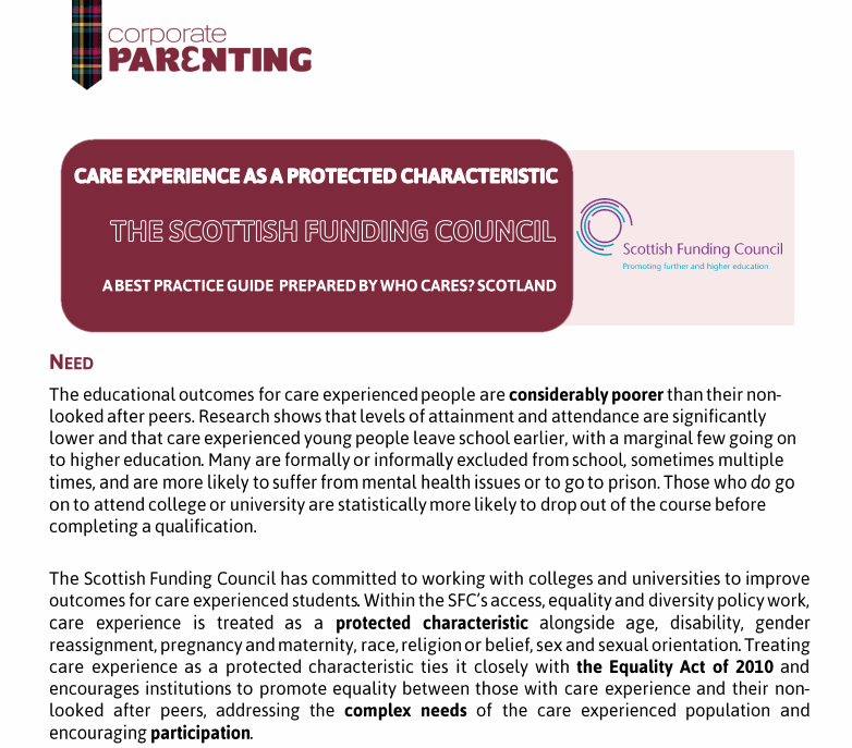 Care as a Protected Characteristic – The Scottish Funding Council